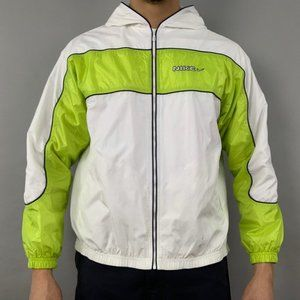 Nike vintage 90s white and neon windbreaker